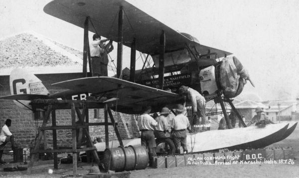 Alan Cobham pioneered many of the long distance airline routes, flying around Africa and as far as Australia. Alan Cobham and his DH.50 in India, 1926