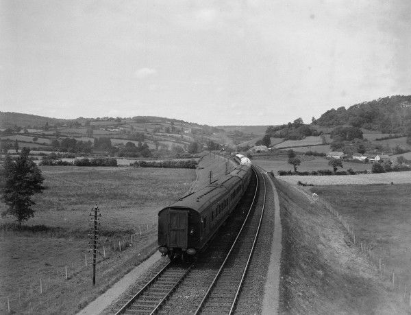 The Southern Railway's Atlantic Coast Express heading west along the embankment