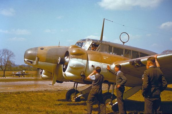 Avro Anson I being started at RAF North Weald, 1942