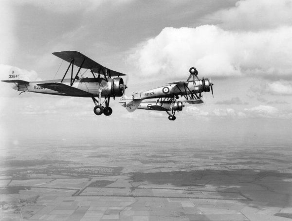 Avro Tutor aircraft of the Central Flying School rehearsing for the RAF Display, Wittering, 1935
