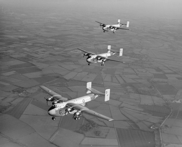 Three Blackburn Beverley C.1 aircraft of 47 Squadron flying from RAF Abingdon, November 1956
