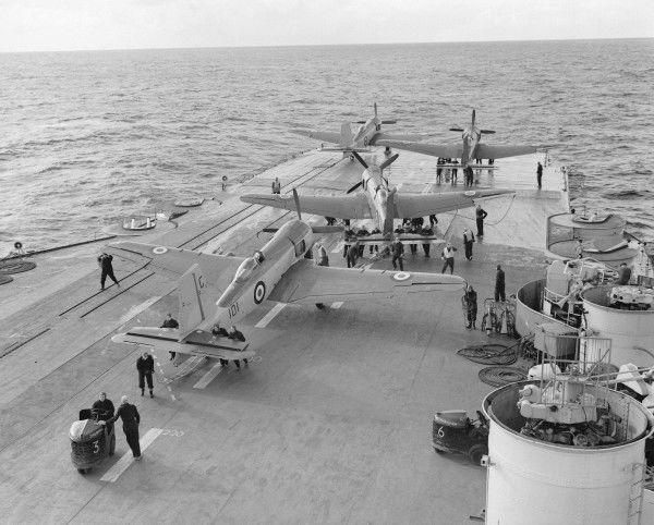 Blackburn Firebrand TF.5 aircraft of 813 Squadron on the flight deck of HMS Implacable, February 1950