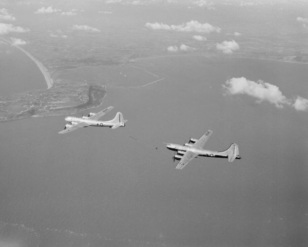 Boeing KB-29M and B-29MR during refuelling trials near Portland Bill