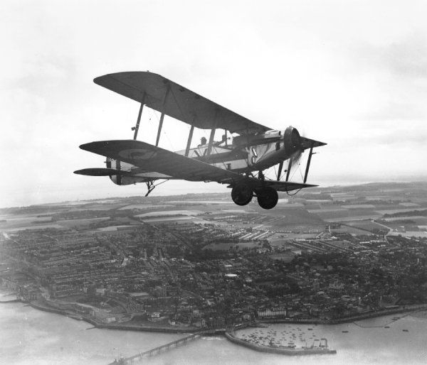 Bristol Fighter of Oxford University Air Squadron RAF over the Kent coast, 1930