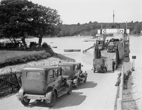 Vehicles boarding the Southern Railway ferry at Fisbourne for the crossing from the Isle of Wight back to Portsmouth