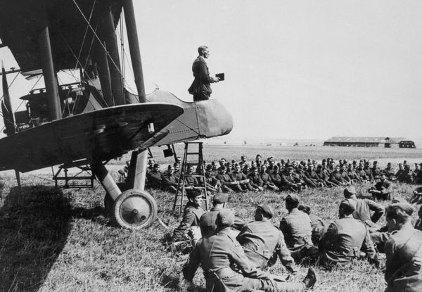 Rev James Rowland Walkley taking a service from the cockpit of a RAF F.E.2b, No. 2 Aeroplane Supply Depot, RAF Bahot, France, September 1918