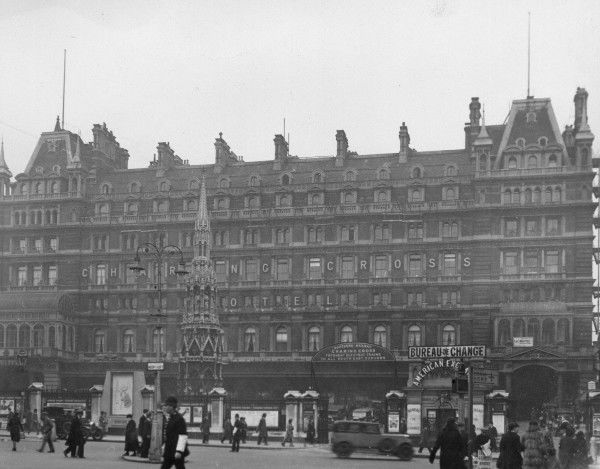 Charing Cross Hotel. The front of Charing Cross Station and hotel