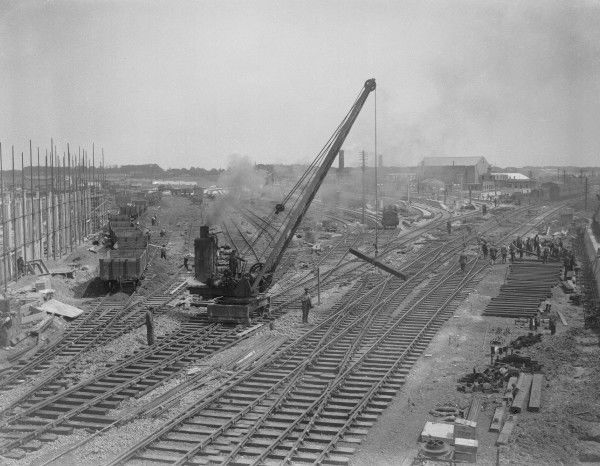 Construction of the new Southern Railway station at Ramsgate with a steam crane at work