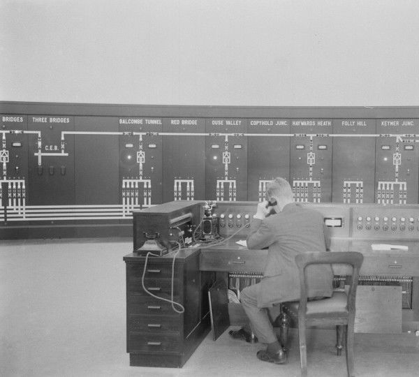 The power supply control room for the London to Brighton line at Three Bridges