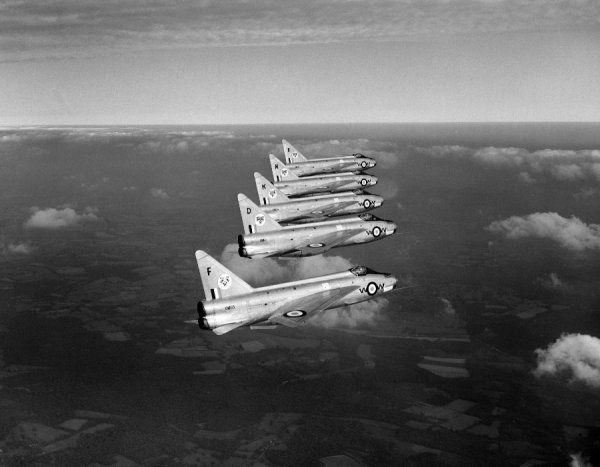 English Electric Lightning F.1 aircraft of 74 Squadron RAF, Coltishall 1960