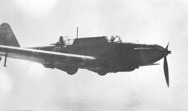 Fairey Battle K9270 PM-O of 103 Squadron, in flight over France, 1940