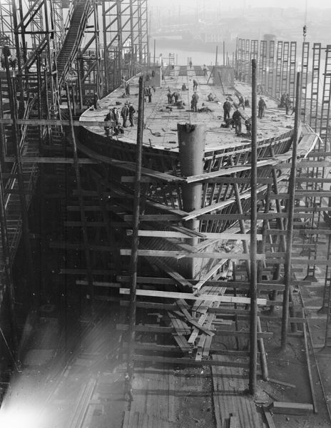 The construction of a new ferry for the Southern Railway at a shipyard on the River Tyne