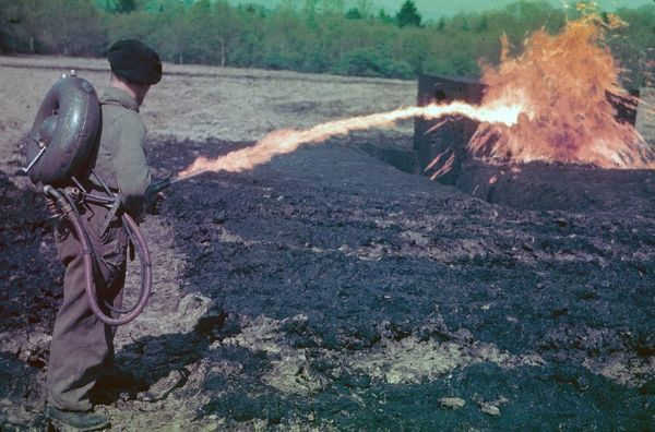 Flamethrower. Testing a flamethrower, circa 1944