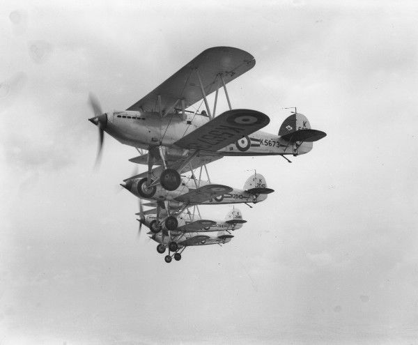 Hawker Fury I aircraft of 1 Squadron RAF rehearsing for a display at Zurich, 1937