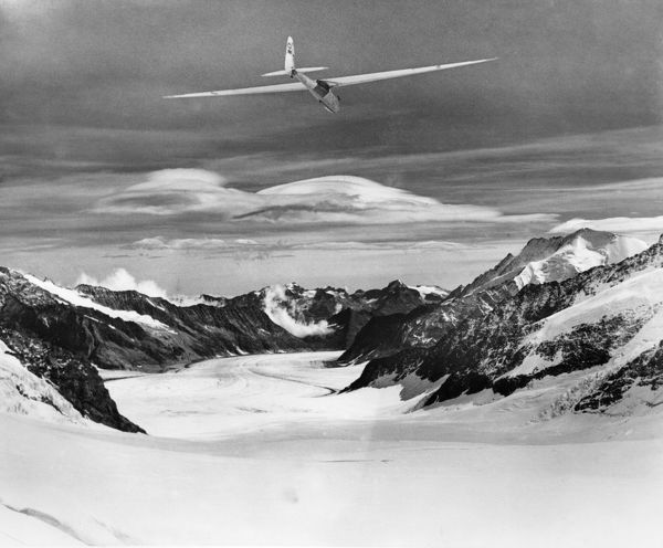 Gliding in the Alps. Gliding at the Jungfraujoch, Switzerland, 1935