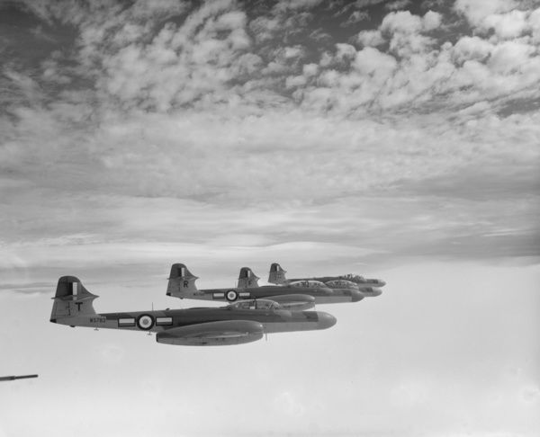 Gloster Meteor NF.14 aircraft of 152 Squadron, in flight from RAF Wattisham, 14 June 1955
