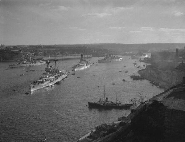 Warships of the Royal Navy in Grand Harbour, Malta
