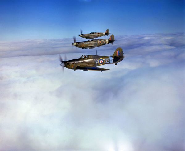 Hawker Hurricane and Supermarine Spitfires of the Empire Central Flying School