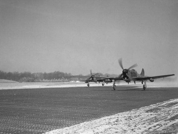 Two Hawker Tempest F.V aircraft of 274 Squadron RAF taking off in Holland