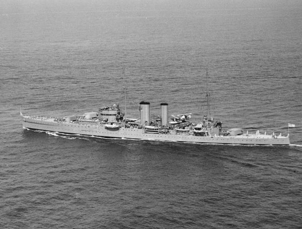 York Class Cruiser HMS Exeter during the Home Fleet Summer Cruise, May 1933
