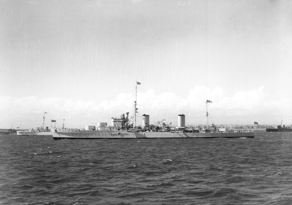 Arethusa Class cruiser HMS Galatea at the Spithead Naval review, May 1937