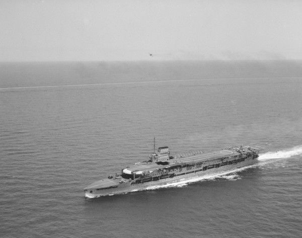 HMS Glorious in the Mediterranean, with Fairey IIIF aircraft on deck, 1936