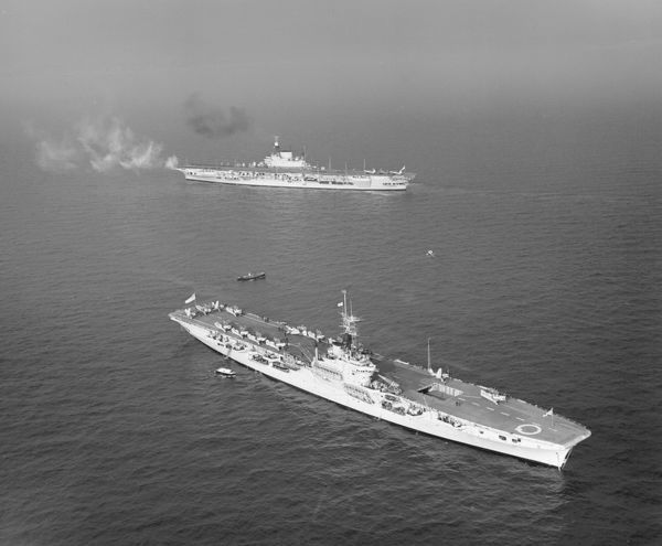 HMS Implacable and HMS Vengeance in Weymouth Bay, February 1950