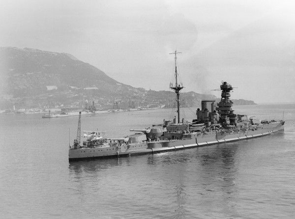 Queen Elizabeth Class battleship HMS Valiant at Gibraltar, March 1931, with Fairey IIIF on stern catapult