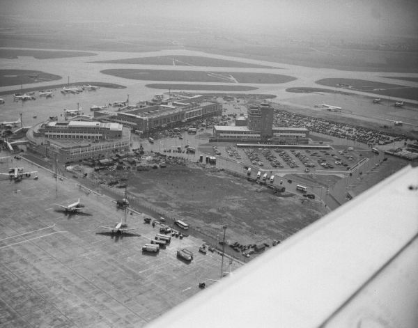 London Heathrow Airport showing the former control tower, Queen's Building and what is presently Terminal 2, 1956