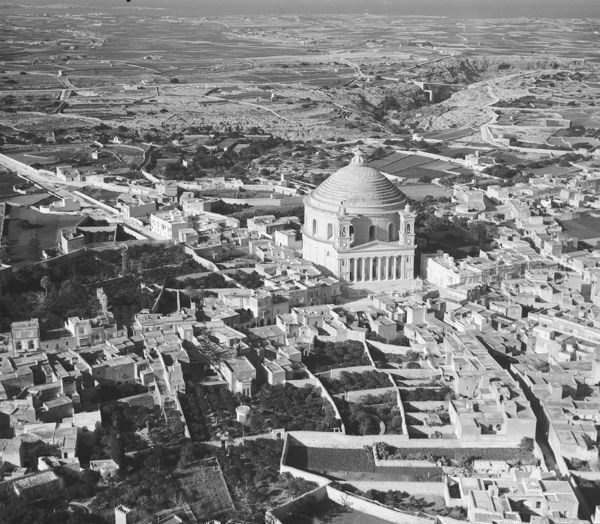 Aerial view of the Rotunda of St Marija Assunta, Mosta, Malta, 1935