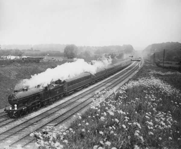 Marsh H1 Class 4-4-2 locomotive 41 Peverill Point with a Southern Railway passenger express