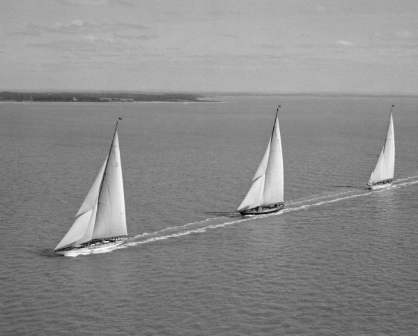 J Class yacht Shamrock V leads Britannia and Velsheda, Cowes Regatta 1933
