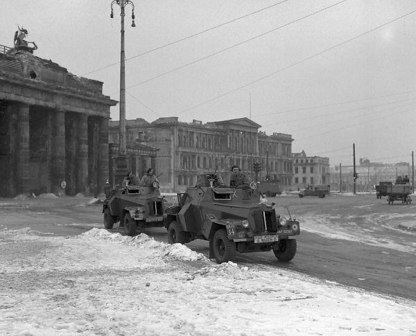 Humber IIIA armoured cars in front of the Brandenburg Gate, Berlin, 1947
