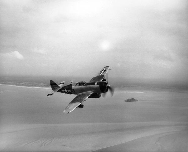 Republic P-47D Thunderbolt of the 410th Fighter Squadron, USAAF, over Normandy, 26 August 1944