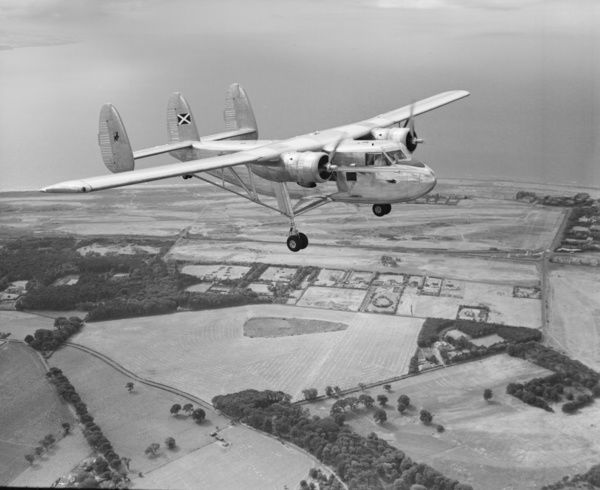 Scottish Aviation Twin Pioneer Series 1 G-ANTP in flight from Prestwick, 17 August 1955