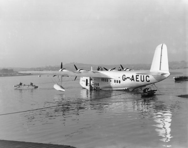 "Short S.23 ""C"" Class (G-AEUC ""Corinna"") of Imperial Airways, on its beaching gear in the River Medway, 1937"