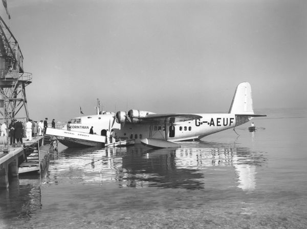 "Passengers boarding Short S.23 C-Class (G-AEUF ""CORINTHIAN"") of Imperial Airways at Marseilles, 1939"