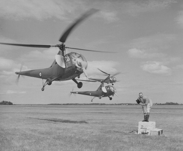 Sikorsky Hoverfly II helicopters dressed up as elephants with Ringmaster, RAF display at Farnborough, 1950