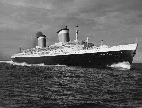 The liner SS United States, holder of the Blue Riband for the fastest transatlantic crossing