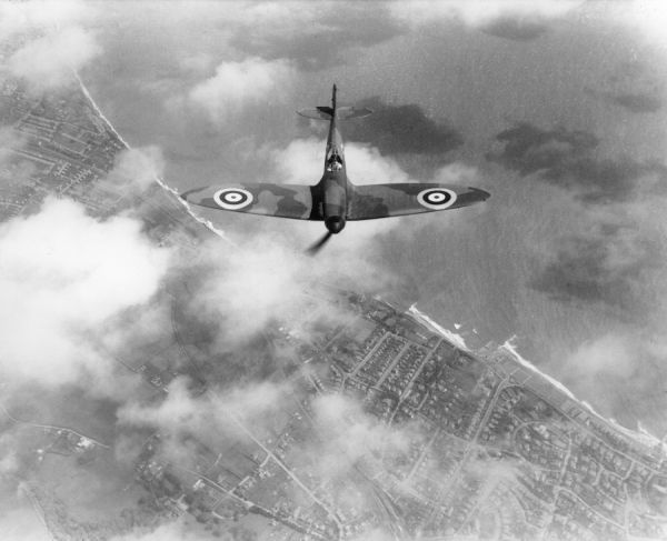 Supermarine Spitfire I (K9787) in flight from Eastleigh, 1938