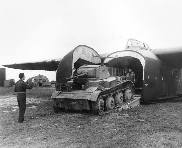 Loading a Tetrarch tank into a General Aircraft Hamilcar glider