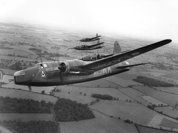 Vickers Wellington I aircraft (L4288 KA-ZA, L4320 KA-B, and others) of 9 Squadron RAF in flight, Stradishall, 1939