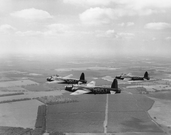 Vickers Wellington Ic aircraft (P9245 OJ-W, R3206 OJ-M and P9272 OJ-N) of 149 Squadron RAF in flight, 1940