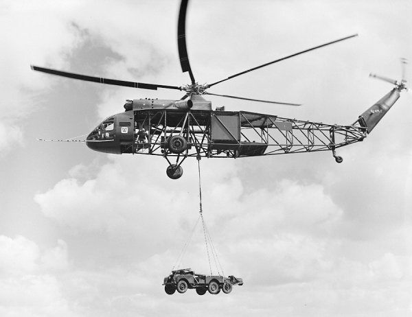Westland Westminster lifting a Land Rover and trailer, Yeovil 9 June 1959