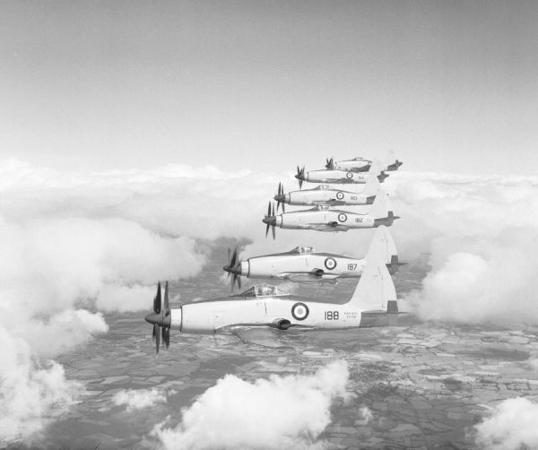 Westland Wyvern S.4 aircraft (VZ758, VZ757, VZ852, VZ753, VZ783 & VZ762) of 813 Squadron FAA, flying in formation from Ford 25 August 1953