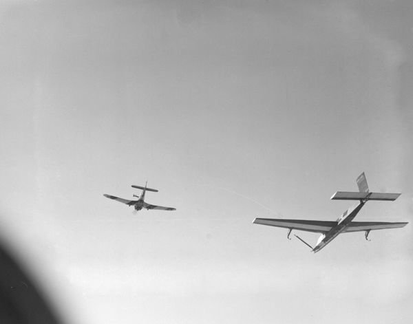 Miles Martinet TT.1 of 771 Squadron FAA towing a Winged Target near Lee-on-Solent
