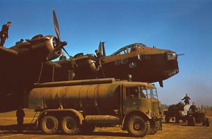 AEC tanker refuelling a Short Stirling