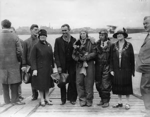 Amelia Earhart at Southampton in 1928 with Stultz and Gordon