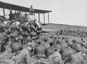 The Chaplain leads the singing at No. 2 Aeroplane Supply Depot