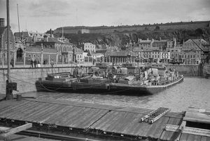 world war/german barges st helier harbour jersey may 1945